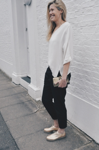 Tall Clothing: Humanoid White Blouse, Hope Trousers , Gold Charlotte Olympia Oxford Shoes