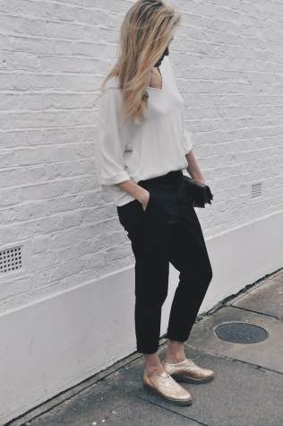 Tall Fashion: Humanoid White Blouse, Hope Trousers , Gold Charlotte Olympia Oxford Shoes